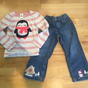 Girls Gymboree 2T Winter Theme Long Sleeve & Jeans